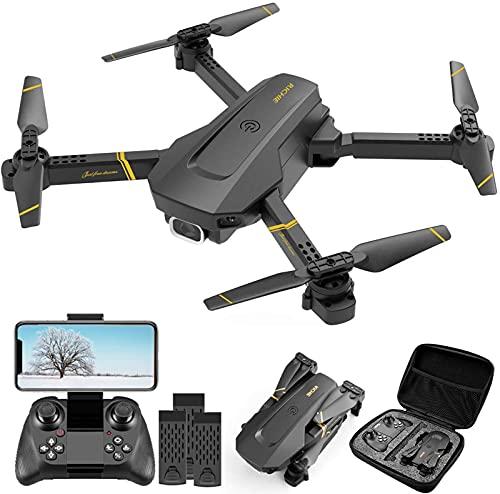 Drone QUANXI V4 com câmera, drone 2.4G 1080P adulto e infantil, quadricóptero dobrável com vídeo ao vivo FPV grande angular, trajetória,controle de aplicativo, fluxo óptico,para iniciantes (3 * baterias)