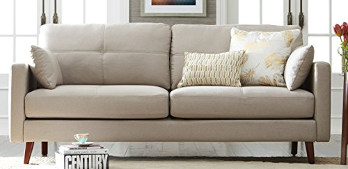 Elle Decor Alix Upholstered Living Room Sofa, Tufted Fabric Couch, Mid-Century Walnut Tapered Footers, 78' Sofa, Ivory