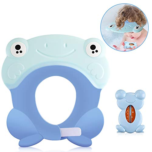 Lictin Baby Shampoo Protection - Baby Bathing Protector Soft Silicone Waterproof Shampoo Shower Cap Hat Adjustable Visor Hat with Cute Frog Thermometer, Protect Eyes and Ears for 0-9 Years Old Kids