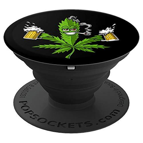 Erba Marijuana Cannabis Birra Erbaccia Hippie Weed Party PopSockets Supporto e Impugnatura per Smartphone e Tablet