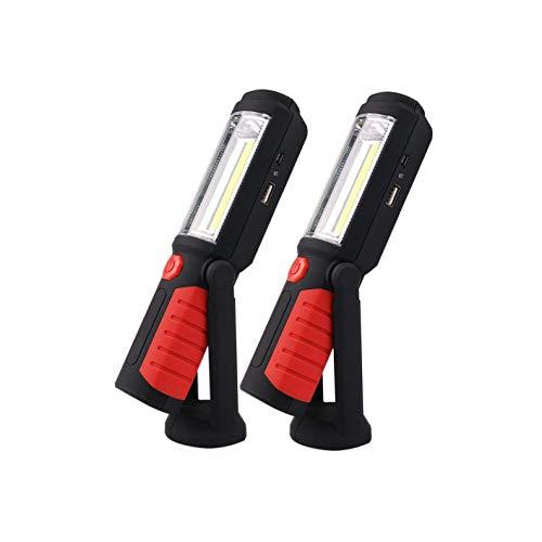 LED werklamp met magnetische voet oplaadbare handheld-zaklamp LED werklamp lampen suspensatie noodlicht batterij aangedreven voor camping werkplaats buiten met hangende haak (rood) x2