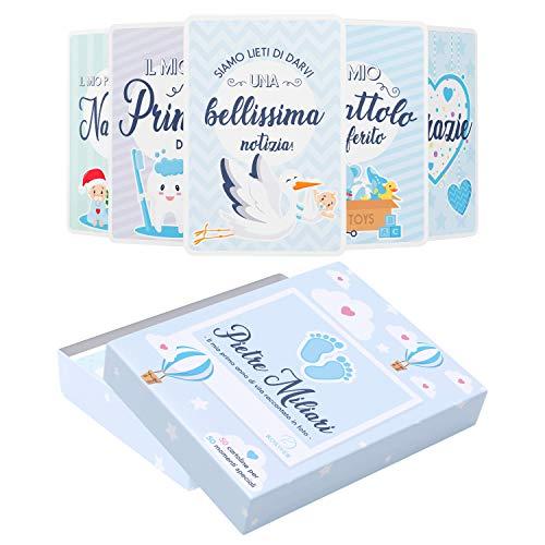 Scatola Dei Ricordi Neonato - Regalo per La Nascita - 50 Milestone Baby Cards Italiano - Pietre Miliari Bambini