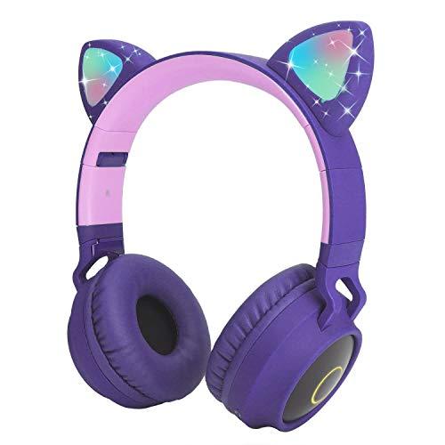 Auriculares Bluetooth para niños Auriculares inalámbricos de Oreja de Gato con luz LED Intermitente (púrpura)