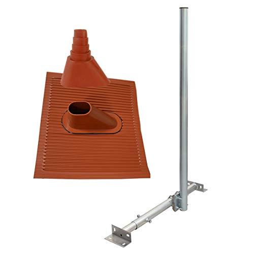 PremiumX Basic X120-48 SAT TV Dachsparrenhalter 120cm Mast 48mm Dach-Sparren-Halterung Kabeldurchführung für Satelliten-Antenne Satellitenschüssel | Dachabdeckung ALU-Ziegel Manschette rot