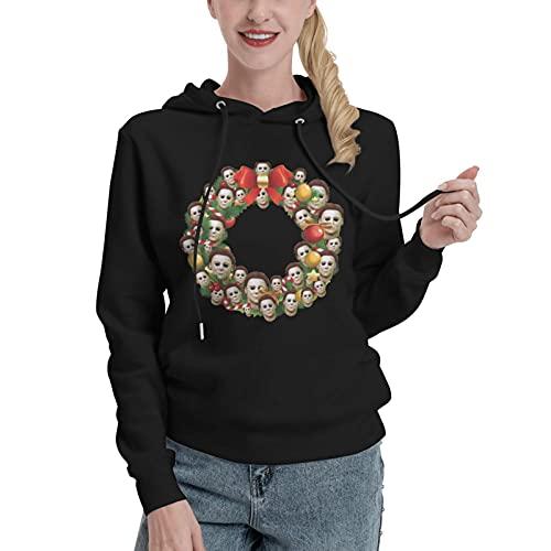 Michael Myers - Sudadera con capucha para mujer, diseño de corona de Navidad, diseño de Halloween, Negro, M
