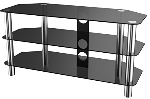 Stealth Mounts 39711 1000mm Glass and Chrome TV Stand for TVs up to 50 - Black