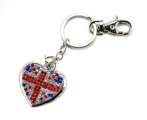 fashionjewellery4u Portachiavi in argento con ciondolo a forma di cuore con bandiera britannica Union Jack, souvenir, con cristalli, per donne e ragazze