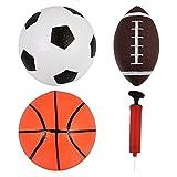 CLISPEED 6 Pièces Gonflable Sport Enfant Boules Ensemble avec 2 Pompes Ballon Gonflable Jouets Rugby Ballon De Soccer Et de Basket- Ball Jeu de Cour Sports de Plein Air pour Enfants en Bas