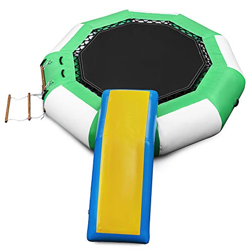 Happybuy Inflatable Water Trampoline 10ft , Round Inflatable Water Bouncer with Yellow Slide and...