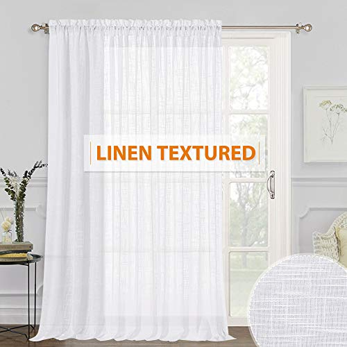 RYB HOME Extra Wide White Sheer Curtain - Long Semi-Sheer Curtain Drape with Linen Wave Pattern Summer Heat Fading Soften The Light for Foyer Window Living Room Farmhouse Cabin, Wide 100 x Long 95