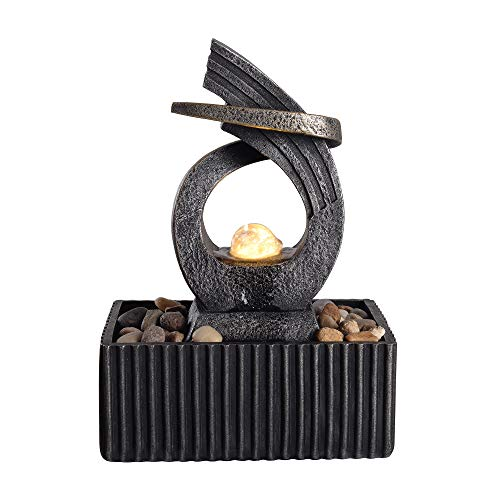 Peaktop Tabletop Water Garden Zen Fountain with LED Light, 8.3' Height, Charcoal/Bronze