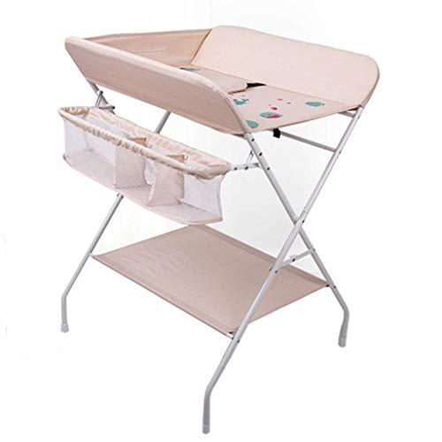 JALAL Pépinière Pliante pour Table à Langer, Station de Bain pour bébé pour Petit Espace, Commode Portable pour Tout-Petit, Rose/Gris, 0-3 Ans