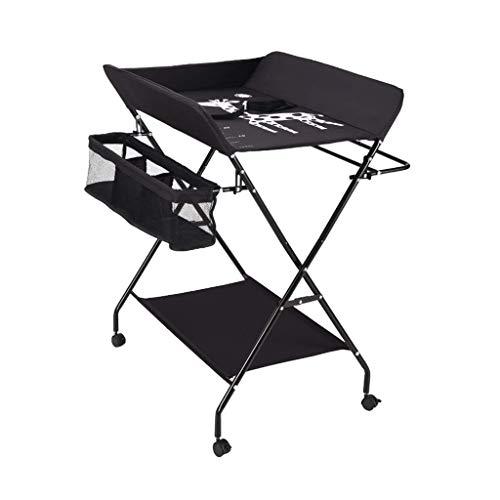 LZQBD Family Care / -Tisch mit Rädern, Wickeltisch mit Rollen Folding Babywickelstation mit Storage Newborn Dresser Tabelle Tragbare Windel Organizer Schwarz