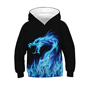 Plustrong Boys Girls 3D Print Graphic Sweatshirts Pullover Hoodies for Kids 6-16 Years