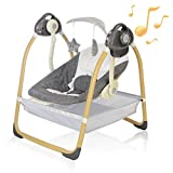 AiBeeYou Baby Swings for Infants, Baby Swing with 6 Motions,Infant Swing with Music,Sounds and Timing Function, Baby Rocker with 2 Toys, Plsuh Seat & Soft Head Support, Machine Washable Fabric (Grey)