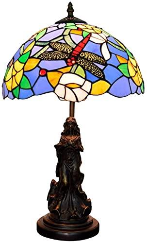 Lamps for Bedroom Lights Table Lamps,12 Inch Lamps for Bedroom Stained Glass Table Lamp Beautiful Angel Blue Mediterranean Dragonfly Rose Living Room Dining Room Bedroom Bedside La