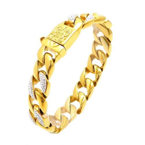 FJ Hip Hop 15mm wit goud/18K vergulde armband gesimuleerd diamant CZ Cubaanse Link armband voor mannen