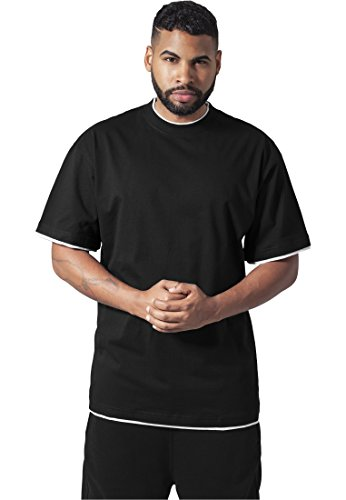 Urban Classics Bekleidung Contrast Tall tee Camiseta, Negro (Black/White), 4XL para Hombre