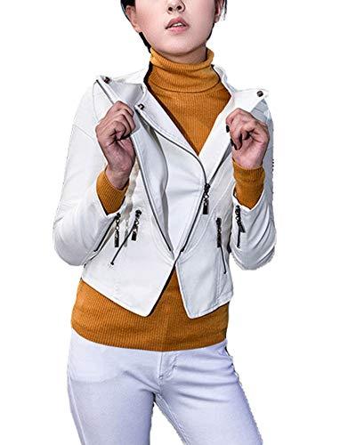 Classic Pink Motorrad Pu-Lederjacke, Damen Schlank Kleine Jacke Weibliche Langärmelige Jacke Punk Mantel Weiß S
