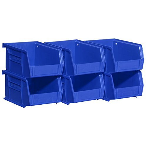 Akro-Mils 08212BLUE 30210 AkroBins Plastic Storage Bin Hanging Stacking Containers 5-Inch x 4-Inch x 3-Inch Blue 6-Pack