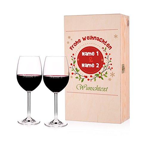 Leonardo 2 Weingläser mit Gravur zu Weihnachten in edler Geschenkverpackung mit persönlichem Glückwunschtext