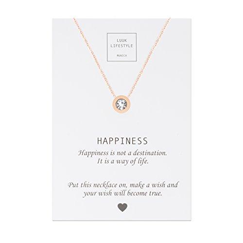 LUUK LIFESTYLE Collar de acero inoxidable con colgante de diamantes de imitación y cita Happiness, joya de mujer, tarjeta de regalo, amuleto, rosa