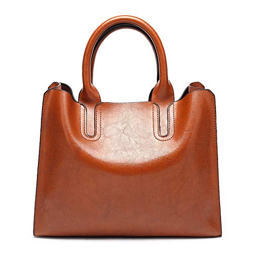QinWenYan Womens Handbag Women's Soft Leather Handbag Daily Work Large Capacity Satchel Brown for Women (Color : Brown, Size : Free size)