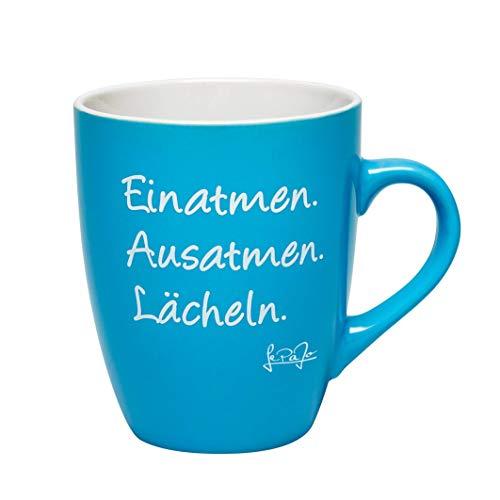 LePaJo Tasse mit Spruch blau/türkis: Einatmen. Ausatmen. Lächeln. Farbenfrohe Kaffeetasse oder Teetasse, das besondere Geschenk, Geschenk Tasse, Porzellan
