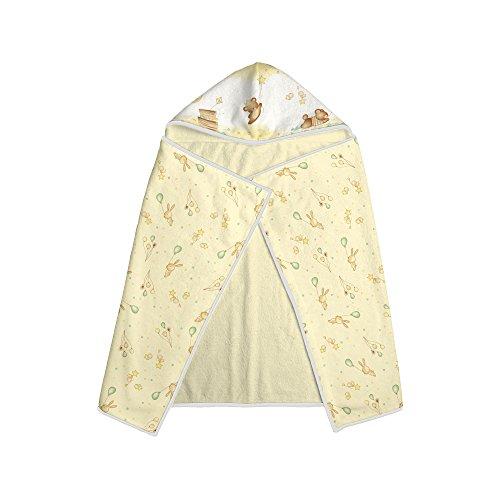 Papi Textil 0917137301 Toalha Felpuda Estampada com Capuz, 90 x 70 cm, Amarelo Coelhos