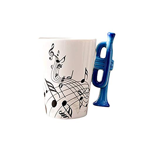 Musikalische Anmerkungs Entwurfs Keramik Kaffeetasse Teetassen, Kreativer Blauer Trompeten Griff Personifizieren Kaffeetasse Milch Becher, Für Geschenk Und Haushalts,Büro