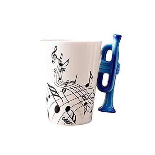 ufengke Creativo Trompeta Azul Tazas Mug De Porcelana Tazas De Café Personalizadas, Notas Musicales Taza De Té De Cerámica, para Regalo, La Familia Y La Oficina