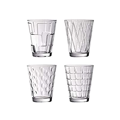 Dressed Up Tumbler Assortment Set of 4 by Villeroy & Boch - Dishwasher Safe - Made in Germany - Clear 100% Lead-Free Crystal Glass - 4 Styles
