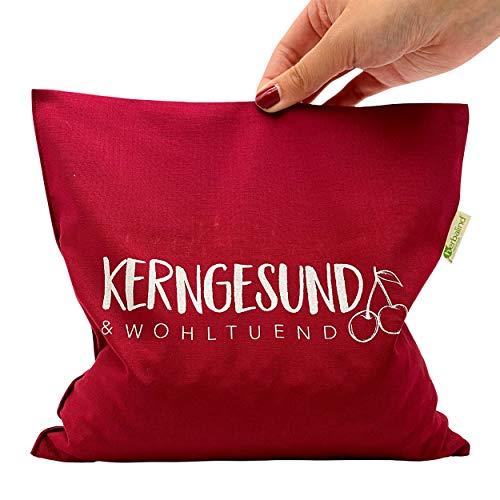 NEU - HERBALIND Kirschkernkissen Kirschkern-Füllung - Wärmekissen Kerngesund in rot (bordeauxrot) - Bezug aus 100{5c7b1824527ca9d3b365f6d36d532d1aecd949da2cd6163dcbdc3e4162ce1352} Baumwolle - Größe 24 x 25 cm