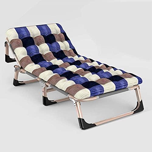 Bedspread Silla cómodaSillas Plegables de Gravedad Cero, cómodo sofá, Mecedora, Tumbona al Aire Libre en el Patio, Almohada Gris Plegable Almohadilla de algodón Perlado de Rejilla Azul