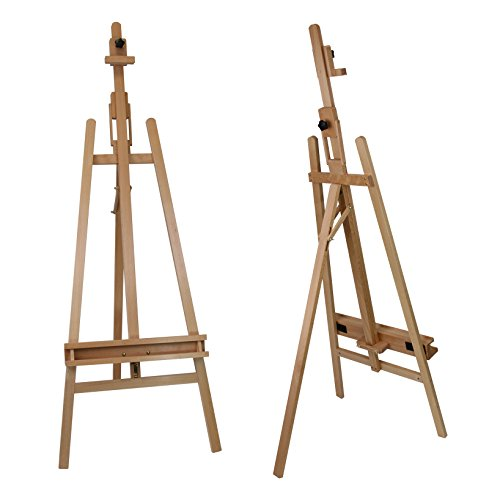 Staffelei ELBA aus Buchenholz FSC, Sitz- und Standstaffelei Starthöhe 40-105 cm, Qualität vom Fachhändler für Keilrahmen bis 120cm
