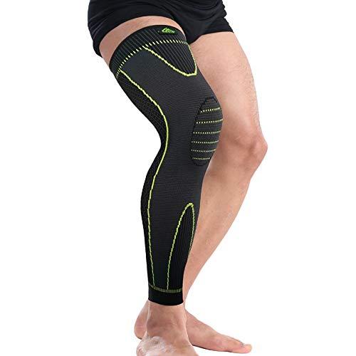Trihedral-X Elastische geel groene strepen verlenging sport kniebeschermers en leggings anti-slip band compressiebeenbescherming