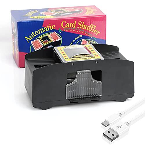 Kartenmischmaschine, Automatischer Kartenmischer mit 2 Decks, Batteriebetrieben/USB-Aufladung - Ein-/Zwei-Deck-Kartenmischer, elektronisches Casino-Poker-Kartenmischen (schwarz)