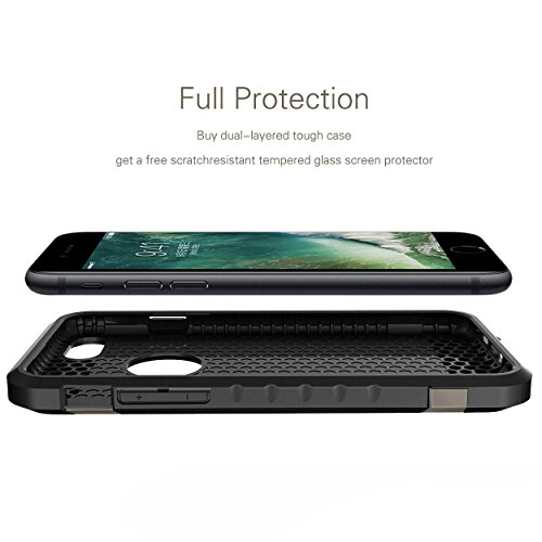 iPhone 7 Case Shockproof, Slim Anti-Scratch Protective Kit with [Tempered Glass Screen Protector] Heavy Duty Dual layer Rugged Case Non-slip Grip Protection Cover for iPhone 7-Gunmetal