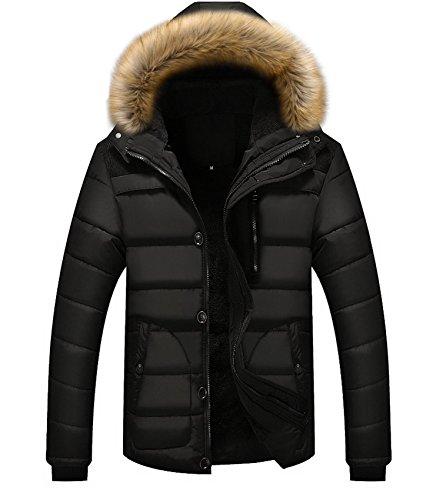 WLITTLE Winterjacke Herren Wattierte Steppjacke Mantel mit Pelzkapuze Warm Schlank Wingterjacke Wintermantel