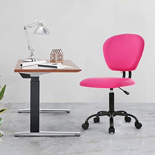 Home Office Chair Computer Desk Chairs Swivel Rolling Task Chair Stool Armless Adjustable Leather Chair with Lumbar Support Ergonomic Desk Chair for Women Girls, Pink