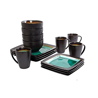 Gibson 65967.16R Everyday Ocean Oasis 16-Piece Dinnerware Set, Turquoise Color