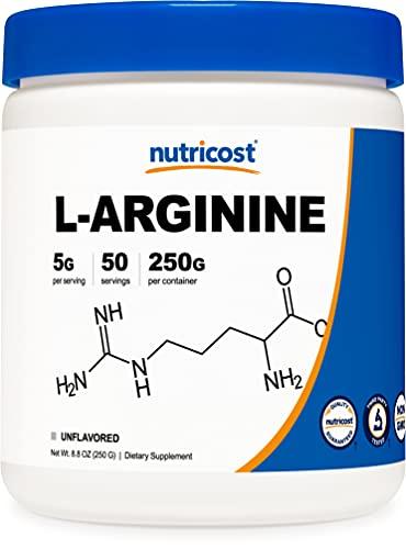 arginine powders Nutricost L-Arginine (250 Grams) - Pure L-Arginine Powder - 5000mg Per Serving; 50 Servings