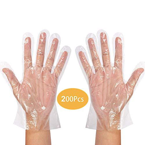 Transparente Einweghandschuhe aus Kunststoff, Virenschutz, Handschuhe zum Kochen im Grill, für zu Hause, im Bad, Hygienehandschuhe für die Küchenreinigung (200 Handschuhen)