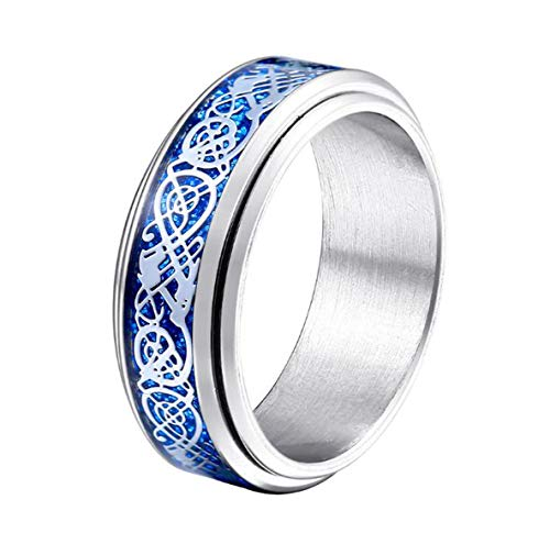 HIJONES Unisex Carbide Fiber Celtic Dragon Spinner Ring Stainless Steel Wedding Spins Band Silver Blue Size 11
