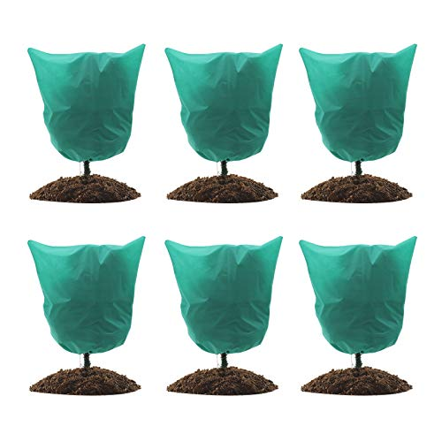 GROWNEER 6 Packs Thickened 1.77 oz 39 x 39 Inches Plant Covers Plant Protection Bags Frost Cloth with Drawstring, Shrub Jacket Winter Tree Cover for Cold Frost Freeze Bird Insect Prevention, Green