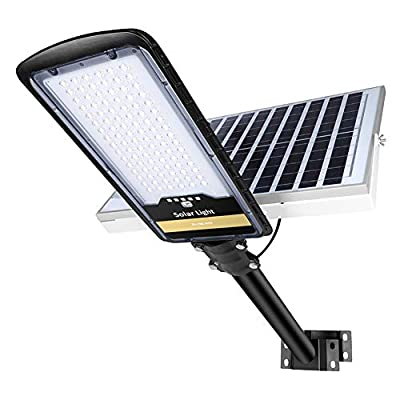 300W Solar Street Lights Outdoor Lamp with 96pcs HB-LEDs Remote Control Mounting Pole and Bracket, 10000lm IP67 Dusk to Dawn Security Led Flood Light for Garden, Street, Court, Parking Lot.