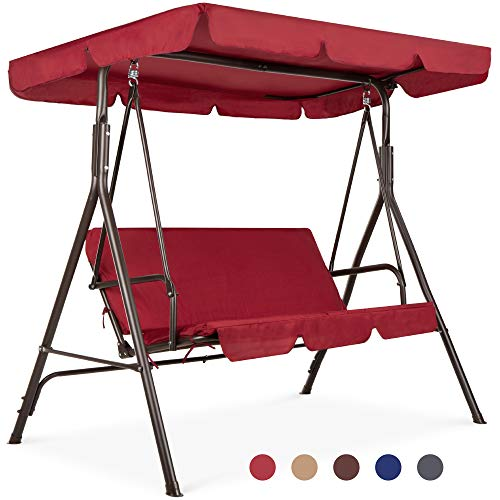 Best Choice Products 2-Person Outdoor Convertible Canopy Swing Glider Lounge Chair w/Removable Cushions - Burgundy