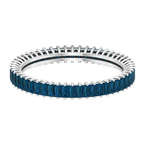 Anillo de corte baguette, anillo de eternidad completo, 1,2 quilates, anillo de topacio azul Londres, anillo de aniversario, piedra de nacimiento de diciembre, 18K Oro blanco, Size:EU 45