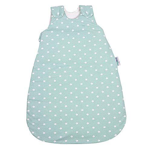 Babyschlafsack HONEY | mitwachsend & atmungsaktiv | ganzjahres Baby-Schlafsack | pflegeleichtes Polyesterflies | vier verstellbaren Größen (Sterne celadon-grün, 62/68)