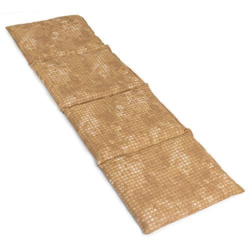 Cojín térmico compartimentado en 4 con semillas de colza 60x20cm - Almohada térmica para microondas - Calor y frío - Saco térmico con semillas (Color: batik oro)